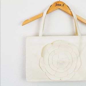 NWOT White leather floral tote bag